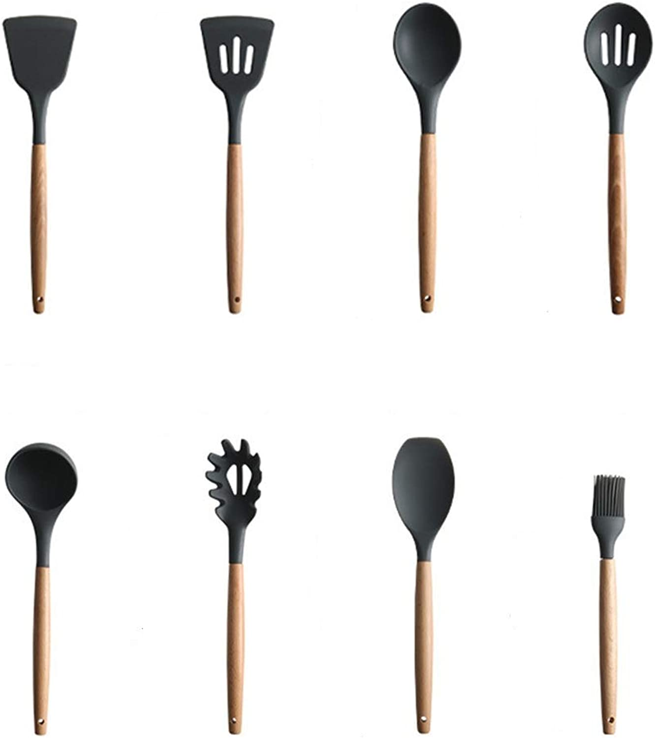8 Piece Set of Silicone kitchenware - Natural Wooden Handle - Non-Stick Shovel Spoon Tool Set Spatula Spoon Black Cooking Silicone Wooden Handle kitchenware