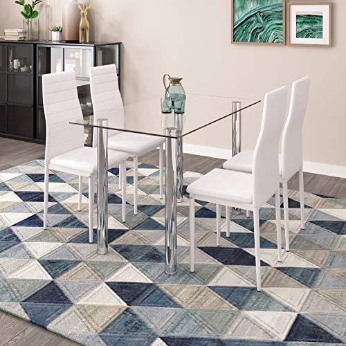Mesa de Comedor de Vidrio y 4 sillas con Respaldo Alto Juego de Comedor de Cocina Moderno Gris Sillas de Cuero sintético de Mesa de Vidrio Rectangular (Blanco + Transparente)