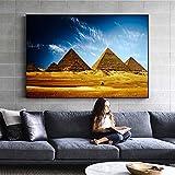 QWESFX Ägyptische Pyramiden Wandbilder Realistische afrikanische Landschaft Wandkunst Leinwanddrucke Ägyptische Pyramiden Kunst Gemälde für Wohnzimmer (Druck ohne Rahmen) A4 50x100CM