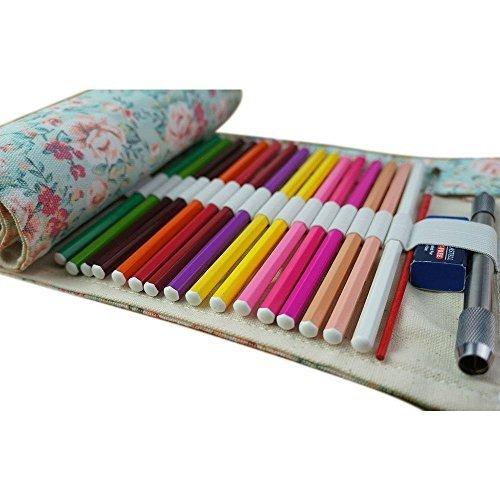 Wady Stifterolle für 72 Buntstifte und Bleistifte, aus Canvas, Stifteetui Roll-up für Künstler, Mehrzwecktasche für Reisen/Schule/Büro/Kunst (Anmerkung: ohne Farbstifte)