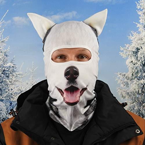 Beardo ® Original Sturmhaube HD | Skimaske, Kälteschutz, Gesichtsschutz, Sturmmaske (Husky Dog)