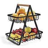 2-Tier Countertop Fruit Basket Fruit Bowl Bread Basket Vegetable Holder for Kitchen Storage, Black