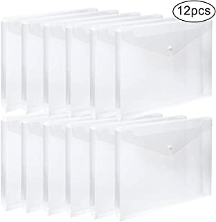 EOOUT 12pcs Clear Plastic Waterproof Envelope Folders with Button Closure and Expandable Gusset, for Letter Size and A4 Size