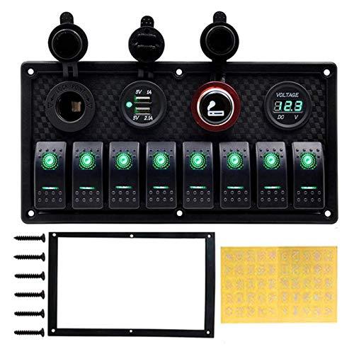 POLKMN 4/8 Gang Gang Toggle Panel de interruptores 12V Ajuste para la embarcación de automóviles Dual USB Puerto de Carga Encendedor de Cigarrillos Voltímetro de voltímetro Coche Panel de Interruptor