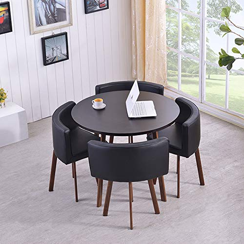N \ A Modern 5-piece Round Square Dining Table Set, Counter Height Kitchen Table, Soft Comfortable Skin-Friendly Material, Simplicity Fashion Black, Pure White, Vintage Brown