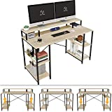 Nost & Host Computer Desk with Ergonomic Monitor Shelf & Storage Bookshelves, Dual Monitor Stand Hutch Home Office Working Gaming Sturdy Table with Adjustable Shelves, Easy Assemble, 55 inches, Oak