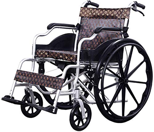 ALH Attendant Antrieb Rollstuhl Rollstühle tragbare Falten Transport medizinisch Geeignet for Menschen mit Behinderungen, ältere Menschen, mit Bremse zu Reisen, Thick Aluminiumlegierung Rollstuhl