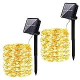 Solar Lichterkette Aussen,infinitoo Solarlampen für außen und Innen,2 Stück 10m 100er LED,8 Lichtmodi Wasserdicht Kupferdraht Lichterkette für Garten,Balkon,Hof, Hochzeit und Partys Dekoration