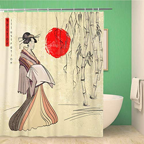 Topyee Shower Curtain Geisha Ancient Japan Classical Japanese Woman of Drawing Beautiful 72x84 Inches Waterproof Polyester Bathroom Decor Curtain Set with Hooks