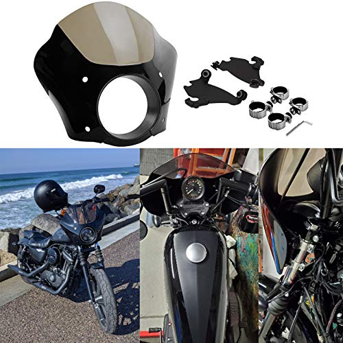 HDBUBALUS Black Headlight Gauntlet Fairing With Trigger Lock Mount 39 mm Fit for Harley Sportster 1200 883