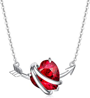Sponsored Ad - FANCIME Love Heart Necklaces for Women, Sterling Silver Created Ruby Heart & Arrow CZ Pendant Necklace Day ...