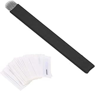 Microblading naalden, 50 stuks handmatige wenkbrauw permanente make-up naalden tattoo micro blade 7 pin / 9 pin / 12 pin /...