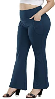 Uoohal Plus Size Bootcut Yoga Pants with Pockets for Women High Waist Bootleg Pants Tummy Control Running Sports Pants