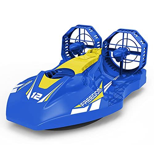 YDHNB Barco de Control Remoto Barco Teledirigido Alta Velocidad 2.4 GHz, Aerodeslizador Multifuncional 2 en 1 Modo Terrestre y Acuático Juguete de Barco de Aire