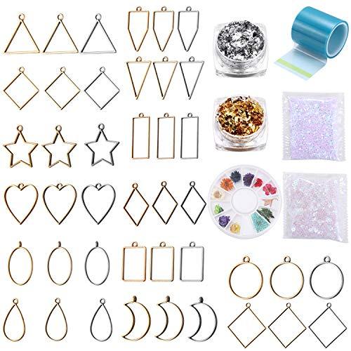 GONOVO 48 marcos colgantes de biseles abiertos, base hueca geométrica surtida, suministros de flores prensadas, kits de fabricación de joyas