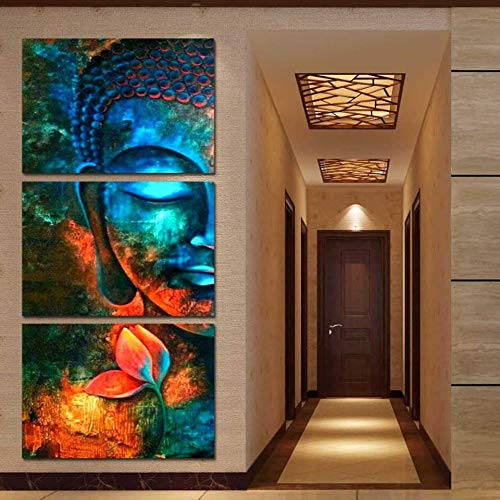 XiaoHeJD Impresiones de Lienzo Posters Arte de la Pared en casa 3 Piezas Abstracto Azul Buda Retrato Pinturas Salón Decoración Flor Fotos Marco-S
