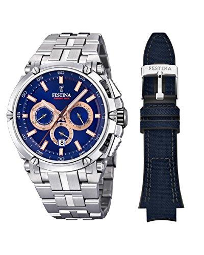Festina Herren Chronograph Quarz Uhr mit Edelstahl Armband F20327/4