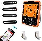 Bratenthermometer Rilitor Digital Grillthermometer mit 4 Sonden Wireless Ofenthermometer Küchenwecker Fleischthermometer für BBQ