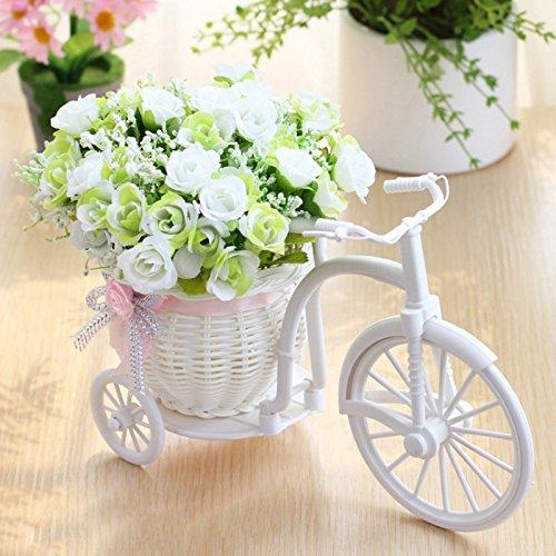 YUIOP Mini-Dreirad mit künstlicher Blume, Rattan Fahrrad Kunststoff Blumen Fake Seide Blume Party Home Office Hotel Dekoration Tischdekoration Arrangement Ornament