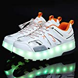 EEUK Roller Skate Shoes with Double Wheels, Led Flashing Invisible Automatic Pulley Boy Girl Roller Skate Luminous Multisport Outdoor Running Gymnastics Sneakers