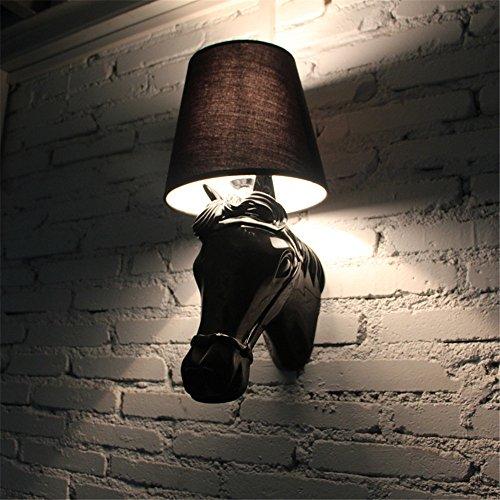 YU-K Chambre Simple Vintage wall lamp creative living salle à manger chambre lights lights Bar allée vintage décoration bois résine animal cheval Tête de lampe de chevet plat mural chambre lampe murale