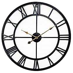 24 inch Large Metal Wall Clock Industrial Decorative Clocks for Living Room, Big Roman Numeral, Thicken Iron, Battery Operated,Strong Mechanism