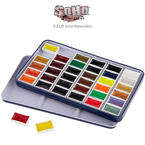 SoHo Urban Artist E-Z Lift Watercolor Paint Set of 36, Whole Pan Assorted Colors, Easy to Lift Semi-Moist, Rich Consistency, Concentrated Vivid Color Pigments Assorted Colors