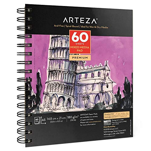 Arteza Mixed Media Papier, Skizzenblock A5 mit 60 Blatt, 180 gsm säurefreies Zeichenpapier, mikroperforierter Zeichenblock mit Spiralbindung für gemischte Malmedien, zum Skizzieren und Malen