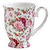 Maxwell & Williams Royal Old England Becher, Porzellan, weiß, rosa, 8.5 cm