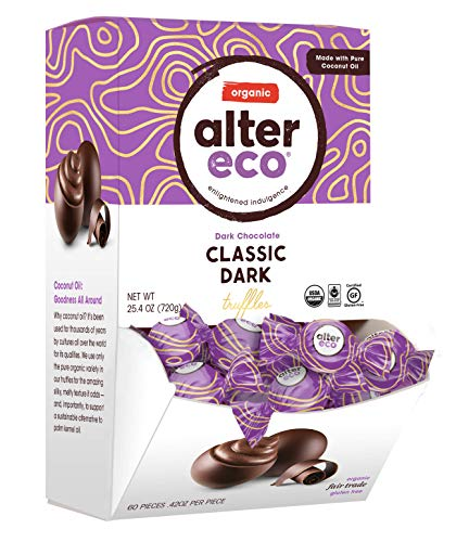 Alter Eco | Classic Dark Truffles | 58% Pure Dark Cocoa, Fair Trade, Organic, Non-GMO, Gluten Free Dark Chocolate Truffles, Single Box (60 ct)