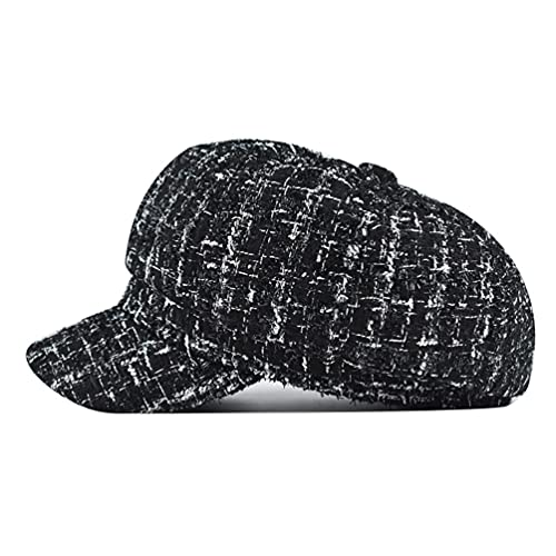 Gatsby Apple Cabbie Tweed Black Octagonal hat,...