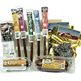 Exotic Jerky & Summer Sausage With Meat Sticks Sampler Crate - Wooden Gift Crate - Gifts for Men who have everything - Keto Snacks - Unique Gifts For Men/Dad- Christmas Baskets - Anniversary -