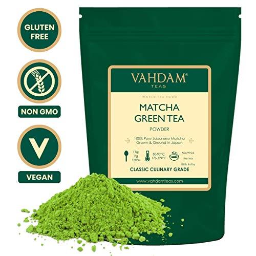 VAHDAM, Matcha-Grünteepulver (100gr 50 Tassen), 100% zertifiziertes reines und ungemischtes japanisches Matcha-Pulver, klassischer kulinarischer Matcha-Tee | 137x Anti-OXIDANTS | Steigert die Energie
