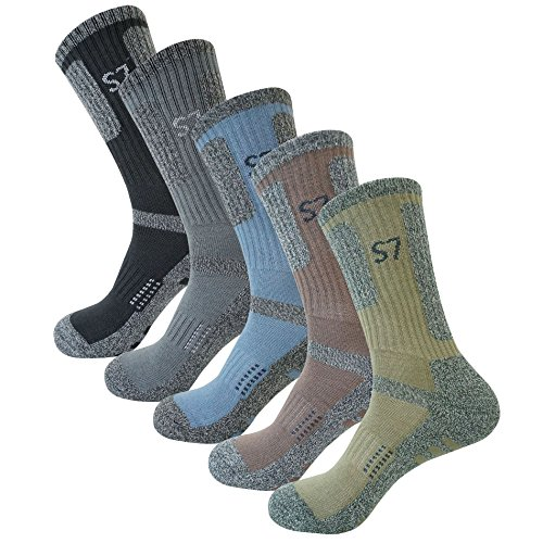 SEOULSTORY7 5Pack Men's Climbing DryCool Cushion Hiking/Performance Crew Socks 5Pair Medium