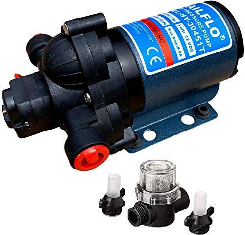 SAILFLO 12 Volt Fresh Water Pump for RV/Marine/Boats 3 GPM 45 PSI Adjustable Built in Pressure Switch/Strainer Included