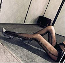 Instagram Fashion Inspired Womens One Size Tight Fishnet Thigh | Stylish High Stockings Pantyhose with Choice of Holes and Diamond, Compression Stockings Sexy Suspender for Women (Black, W54)