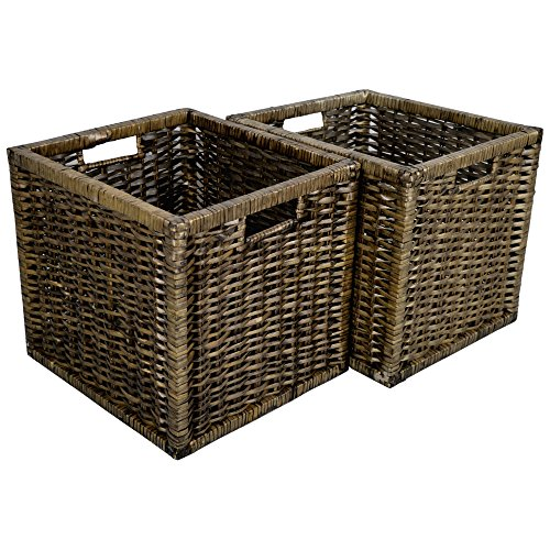 Wovenhill Set of 2 Square Willow Storage Baskets in Bronze Wicker 2 x W33 x D35 x H32cm