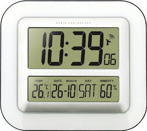 Technoline Jumbo-Funk-Wanduhr WS 8006 Kalender Temperaturanzeige (Weiss mit Batterien)