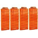 Bullet Clips, OIMIO Soft 12 Bullets Dart Gun Clips Magazine Clip For Nerf Toy Dart Gun 4PCS (transparent orange)
