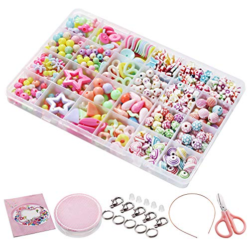 Bacakase Armband Selber Machen Set Kinder - 24 Arten Bunte Perlenarmbänder - Basteln DIY Armband (680 Perlen)