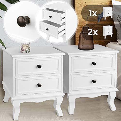 Nachttisch aus robuster MDF-Platte und Holz - 49x34,5x30cm, Weiß, mit zwei Schubladen, einzeln oder 2er-Set - Nachtschrank, Kommode Ablagetisch