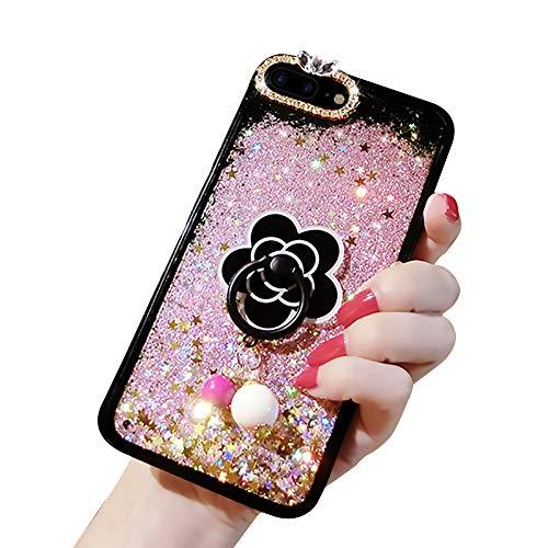 Étui de téléphone à paillettes pour Huawei P30 Lite,YiCTe Bling Liquide Fluide Scintillant Fille Personnalisé Transparente Kawaii Coque avec Film Téléphone Portable Floral Bague Support,Rose