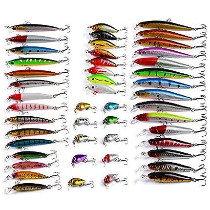 LEAMALLS 48 Piezas Señuelos Pesca Artificial Cebos para Anzuelos Pesca, Cucharillas Pesca Accesorios Aparejos De Pesca para la Pesca Ganchos