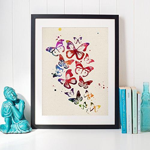 Poster farfalle volanti. Lamina stile acquerello. Poster di design di alta qualità stampato su appel 250 gr.