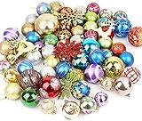 Ikruidy Bolas de Adornos para árboles de Navidad Bolas de Navidad decoración de Colores Tamaño Bolas Colgantes inastillables Adornos para Fiestas navideñas 60-70 Piezas (Forma aleatoria)