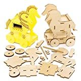 Baker Ross FE453 Trojanisches Pferd Holz Bastelset - 2er Pack, Kleine Bausätze für Kinder zum Basteln