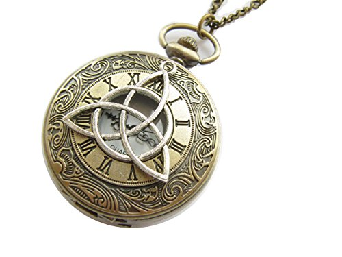 Ancient Silver Rome Number The Flower of Life Charm Pendant Watch, Antique Bronze Watch Necklace