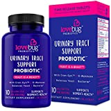 Lovebug UTI Support wlth 30 Delayed Release Probiotic Tablets with Cranberry and D-Mannose Supplement - Promotes Urinary Tract + PH Balanced Flora (30)