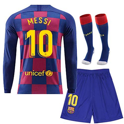 WRJJYE3 Ba-rcelona #10 Messi Football Club Kids/Youth Home Soccer Long Sleeve T-Shirt Red/Blue