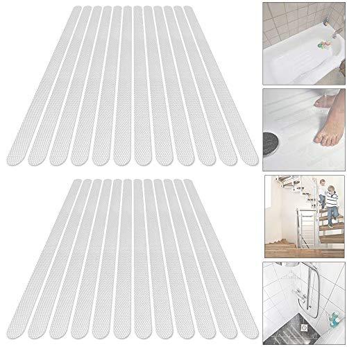 NO 24 Piezas Tira Antideslizantes, Tiras de Seguridad Adhesivos Antideslizantes para Ducha y Bañera Escaleras, Autoadherentes Transparente Esterilla Antideslizante 2 * 38cm
